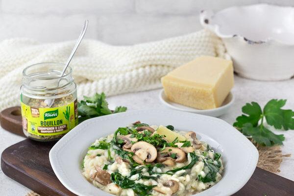 Spinat Risotto mit Champignons