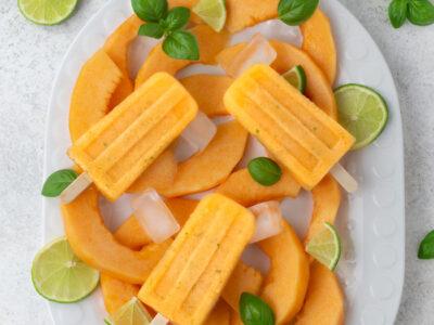 Melonen-Basilikum Eis am Stiel